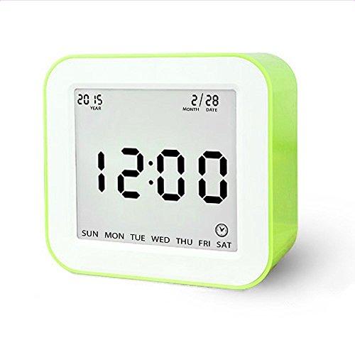 Digital Alarm Clock, MECO Gravity Sensor Multifunctional Alarm Clock Operated with Large Screen, Date, Time, Calendar, Temperature Display, Alarm, Countdown for Children, Teenagers, Green