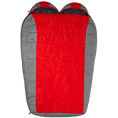 TETON Sports Tracker +5F Double-Wide Sleeping Bag Perfect for Camping, Hiking, and Backpacking; Free Compression Sack Included