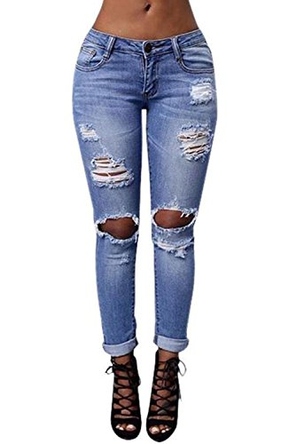 Fboards Womens Ladies Stretch Faded Ripped Slim Fit Skinny Denim Jeans