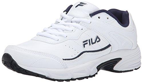 Fila Men's Memory Sportland Running Shoe, White Navy/Metallic Silver, 8.5 M US (Fila Sport Shoes Men)
