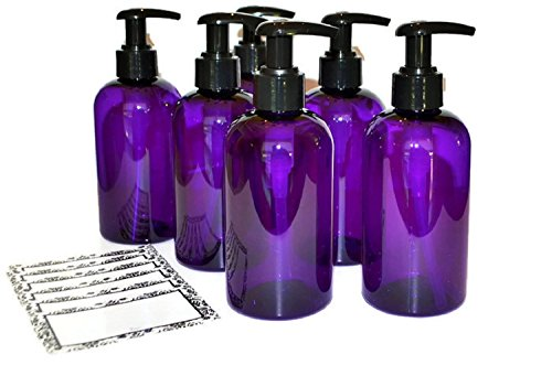 Purple Plastic Pump Baire Bottles  16 Oz Refillable Black Lotion Pumps   Organize Soap  Shampoo  Lotion With A Clean  Clear Look   Pet  Lightweight  Bpa Free   6 Pack  Bonus 6 Damask Labels