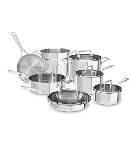 KitchenAid Tri-Ply Stainless Steel 12-Piece Set, Stainless Steel Finish