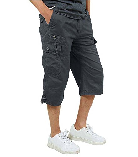 - FASKUNOIE Men's Sport Shorts Outdoor Lightweight Cotton Waterproof Capri Shorts Three Quarter Tactical Cargo Short Winter Pants Gray