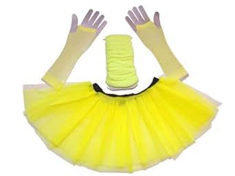Just 4FUN - Conjunto de tutú con tres capas, calentadores y guantes de redeciclla, tallas 36 a 44 Amarillo - Amarillo 12