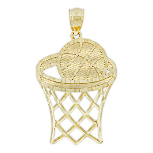 - Charm America - Gold Basketball and Hoop Charm - 10 Karat Solid Gold