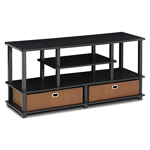 Furinno FBA_15119EXBKBR TV Stand, Espresso/Brown - Console 55' Entertainment Open