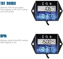 Runleader Self Powered Engine Digital Maintenance Tachometer Hour Meter BATTERY REPLACEABLE for Lawn Mower Generator Dirtbike Motorcycle Outboard Marine Paramotors Snowmobile and Chainsaws