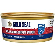 Gold Seal Wild Alaska Sockeye Salmon – Skinless Boneless – 6oz (170g)- 6 Count - 200mg Omega 3 per Serving (EPA and DHA Omega-3)– 17g of Protein per Serving - Cooked just once – Ready to Serve