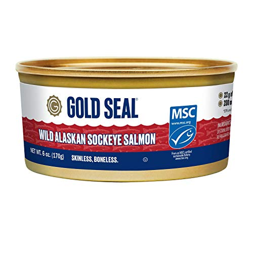 Gold Seal Wild Alaska Sockeye Salmon - Skinless Boneless - 6oz (170g)- 6 Count - 200mg Omega 3 per Serving (EPA and DHA Omega-3)- 17g of Protein per Serving - Cooked just once - Ready to Serve