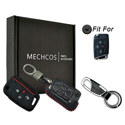 MECHCOS Compatible with fit for 2014-2019 Volkswagen VW GTI Tiguan Golf Polo Atlas 4 Buttons Flip Leather Case Key Fob Cover Keyless Car Remote Holder Protecter, Bonus: Silicone Case & Key Ring (Key Vw Flip)