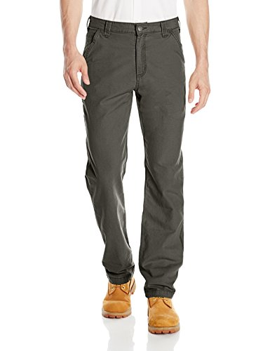Carhartt Men's Rugged Flex Rigby Dungaree Pant, Peat, 44W X 30L (Best Work Pants For Plumbers)