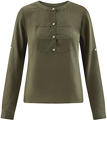 Femme 6800n Ultra oodji Chemisier Vert Mousseline Style en Militaire 85Oyyq