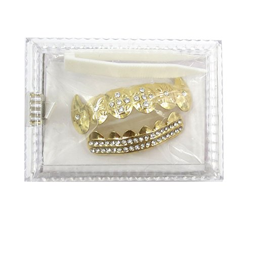 Gold Grillz Teeth Set Best gift for Son-New Custom Fit 14k Plated Gold Cruz Diamonds Grillz - Excellent Cut for All Types Of Teeth – Top and Bottom Grill Set - Hip Hop Bling Grillz by TSANLY (Image #6)