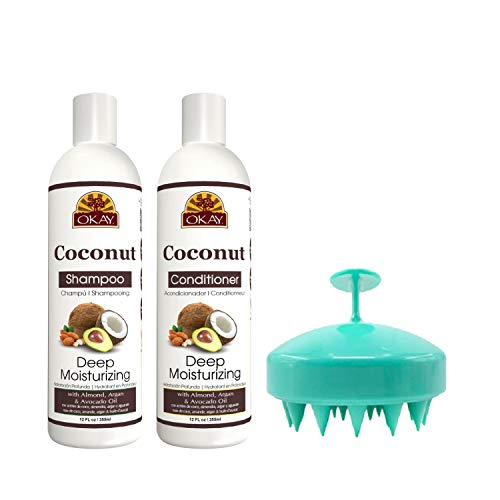 OKAY Coconut Oil Deep Moisturizing Shampoo and Conditioner with Hair Scalp Massager Brush – With Argan Oil, Almond Oil…