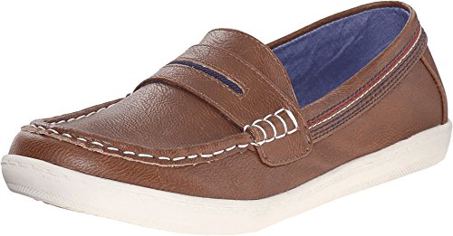 Tommy Hilfiger Kids Boy's Dylan Boat Shoe  Cognac Loafer 3 L