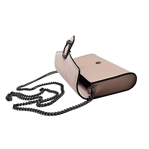 Pink in Antique RONDA metal smooth with and bag accessory chain Baugette suede Made leather clutch Clutch and Italy mini AqAwH6T4