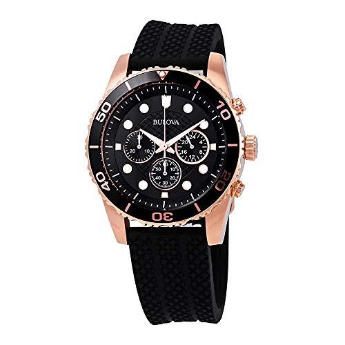 Bulova Sport Chronograph Black Dial Black Rubber Mens Watch 98A192 ()