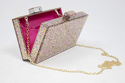 BG-713-G65 Box Clutch Crossbody Hard Case Purse Evening Bag - Glitter Rose Gold by Funky Junque (Image #1)