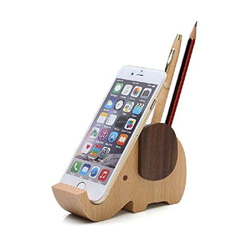 Wood Phone Holder, Elephant Container With Pen Holder Desk Organizer (Elephant)