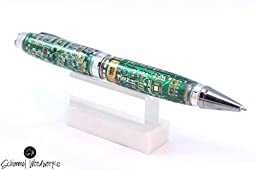 Circuit board Pen, Handmade Schimmel pen made with real computer circuit boards. Black Titanium and Platinum 2 piece twist pen in Gift box.