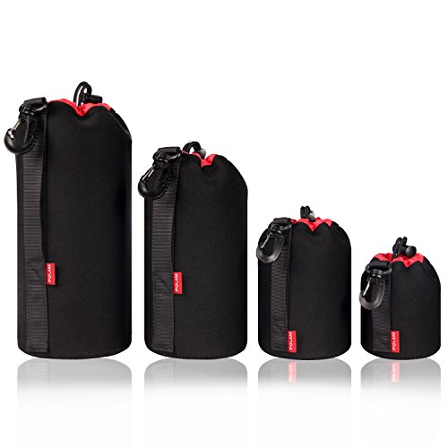 POLAM-FOTO 4 Pack Thick Lens Pouch Set for Protect DSLR Camera Lens, Lens Case Neoprene with Soft Thick Black Plush Inside for Canon, Nikon, Tamron, Sigma, Pentax, Sony, etc.