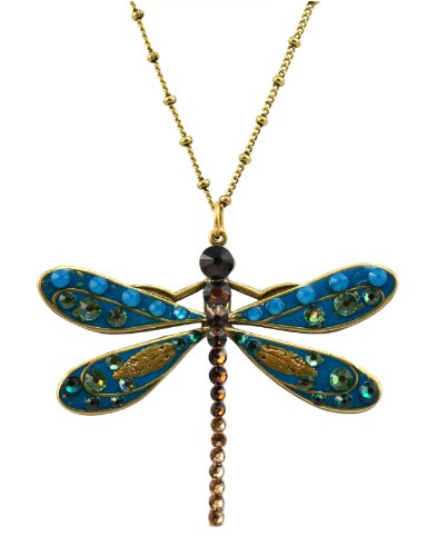 [Anne Koplik Gold Plated Large Blue Enamel Dragonfly Pendant Necklace with Swarovski Elements] (Dancing With The Stars Costumes Designs)