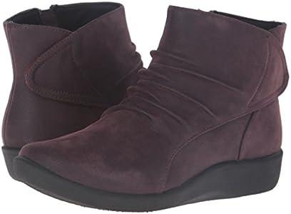 Clarks Women's Sillian Chell Boot, Aubergine Synthetic
