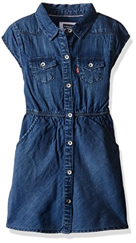 Levi's Big Girls Open Road Short Sleeve Denim Dress, Clean Blue, X-Large ()