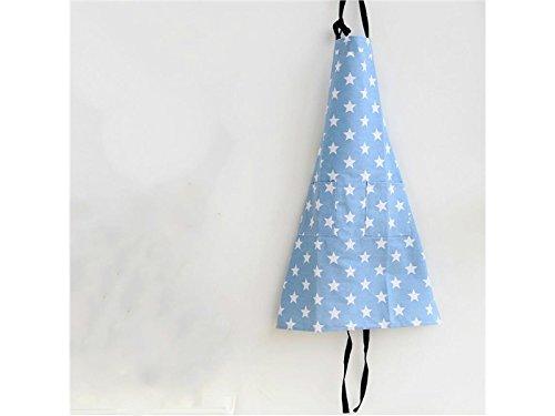 Rosetreee Haltbar Schöne Sterne Muster Schürze für Frau Küche Arbeiten Haushalt ärmellose Schürze mit Tasche (Hellblau)