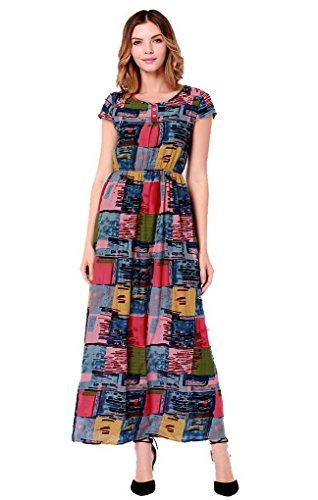 de de el Acmede flores corta largo mujer de playa manga Vestido estampado Bohemia de de pw6qUUd