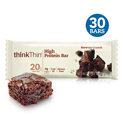 Think! (thinkThin) High Protein Bars - Brownie Crunch, 20g Protein, 0g Sugar, No Artificial Sweeteners, Gluten Free, GMO Free*, 2.1 oz bar (30Count - Packaging May Vary)