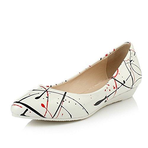 Amoonyfashion Mujer Pull On Tacones Cerrados Con Punta Estrecha, Color Surtido Bombas-zapatos, Blanco