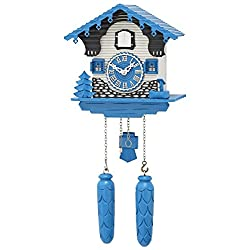 Blue and White Swiss Chalet Quartz Cuckoo Clock by Trenkle Uhren