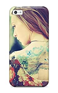 BreakFree Fashion Protective Girl Back Tattoos Case Cover For Iphone 5c