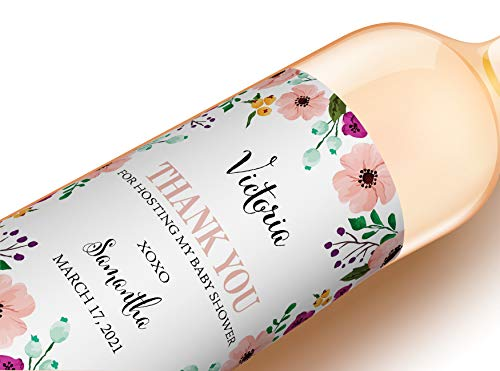 PERSONALIZED Baby Shower Hostess Gift Wine Labels, CUSTOM Baby Shower Thank You Gift, Unique Host Gift Ideas, Thank You for Hosting My Baby Shower Wine Stickers, Host Gift Ideas WEATHERPROOF, A700-1HG]()