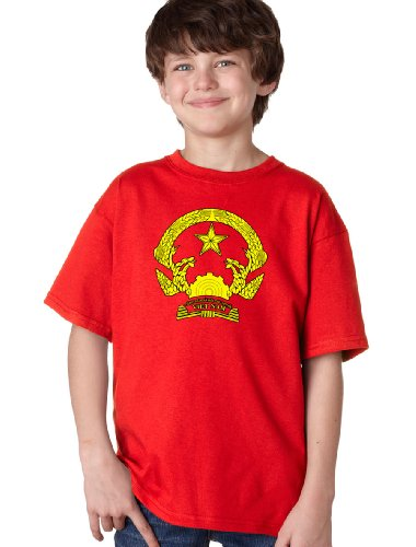 [VIETNAM COAT OF ARMS Youth T-shirt / National Vietnamese Emblem, Historic Costume Tee-Red-X-Large] (Vietnam National Costume For Boys)