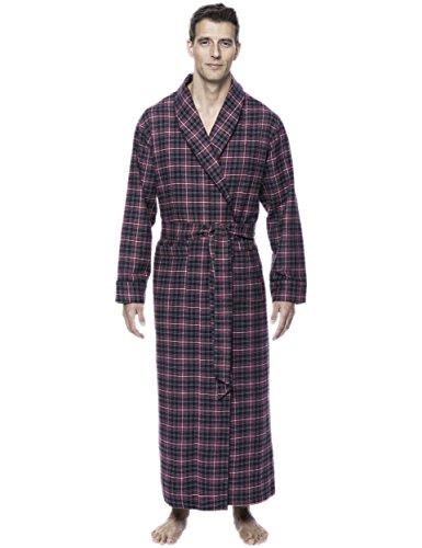 (Mens Premium Flannel Long Robe - Plaid Burgundy/Grey - Small/Medium)