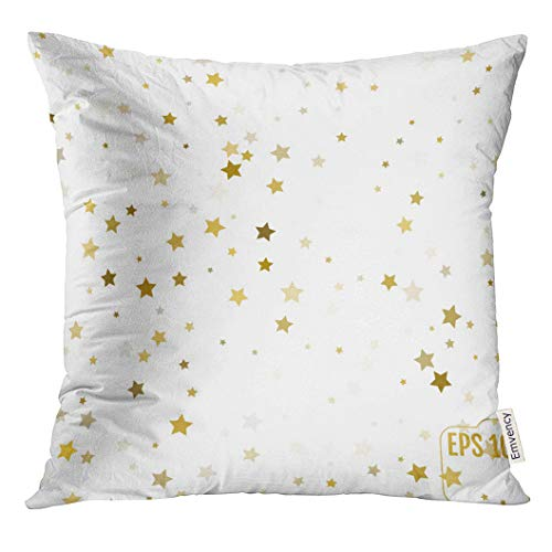 Emvency Throw Pillow Cover Gold Stars Confetti Celebration Falling Golden Abstract for Party Birthday Celebrate Anniversary Event Decorative Pillow Case Home Decor Square 18x18 Inches Pillowcase -