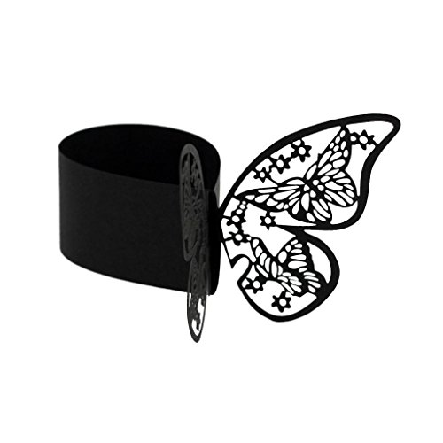 FidgetGear 50Pc Butterfly Paper Napkin Ring Holder for Wedding Party Table Decor Black from FidgetGear