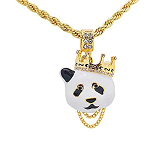 "Yellow Gold-Tone Hip Hop Bling Pave Stones Panda with Crown Pendant with 24"" Rope Chain"
