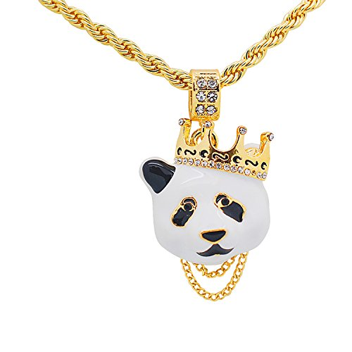 Hip Hop Crown (Yellow Gold-Tone Hip Hop Bling Pave Stones Panda with Crown Pendant with 24