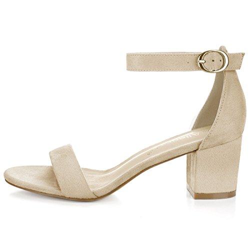Allegra K Women's Open Toe Block Heel Ankle Strap Sandals Beige 1-faux Suede wKlJioEP