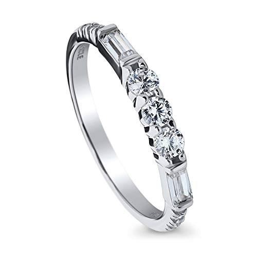 BERRICLE Rhodium Plated Sterling Silver Cubic Zirconia CZ Art Deco Anniversary Wedding Half Eternity Band Ring Size 9
