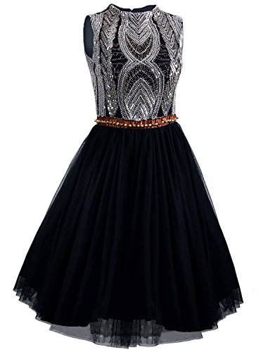[Vijiv 1920s Short Prom Dresses A Line High Neck Organza Beaded Homecoming Dress] (Gatsby Dress Cheap)