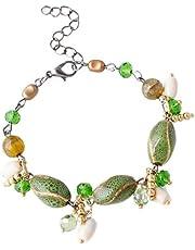 SODIAL Fashion Bracelet Multi Colored Gravel Handmade Beaded Bracelet Jewelry Green