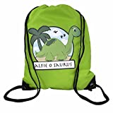 The Supreme Gift Company Personalised Green bag Kids Dinosaur Drawstring Swimming, School, PE Bag For Boys & Girls