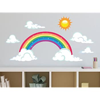 High Quality Sunny Decals Sparkling Rainbow Fabric Wall Decal With Sun And Clouds, Large