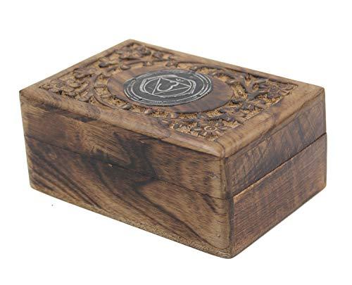 Hand Carved Chakra Jewelry Trinket Keepsake Wooden Storage Box (Third Eye) from DharmaObjects