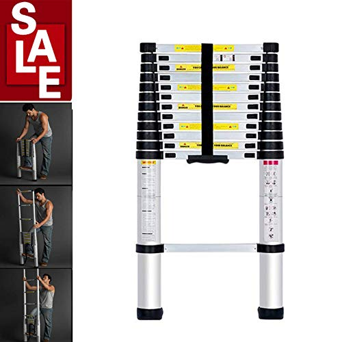 Aluminium Telescopic Ladder 12.5Ft/3.8M Multi-Purpose Telescoping Ladder Extension Extend Portable Compact Ladder Foldable Single-Sides Decorating Building Tall Ladder with Hinge EN131 Standards 330Lb