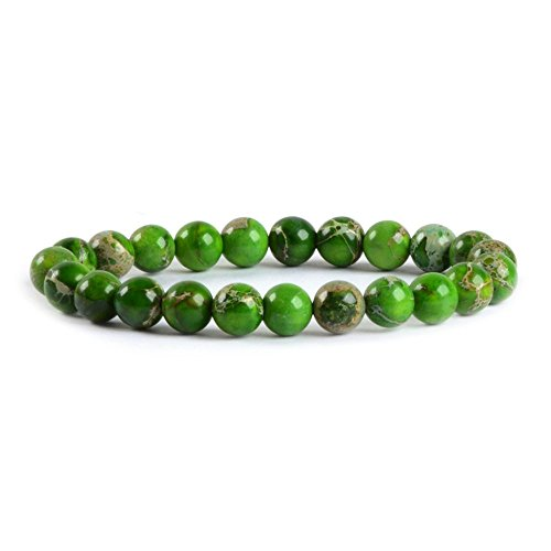 Green Sea Sediment Jasper Gemstone 8mm Round Beads Stretch Bracelet 7